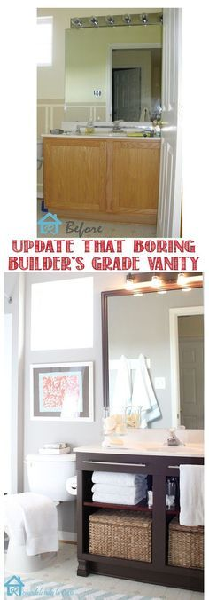 Get rid of the doors, install a shelf and towel rods to get a new looking vanity. This vanity makeover is so easy and looks much like a much more updated vanity.