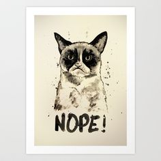 Grumpy Cat Ink  Art Print by Cedric S Touati - $15.00