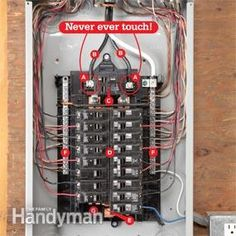 Breaker Box Safety: How to Connect a New Circuit - Home electrical wiring - Home Electrical Wiring, Electrical Projects, Electrical Outlets, Electrical Inspection, Residential Electrical, Electrical Engineering, Electrical Safety, Electrical Installation, Home Improvement Projects