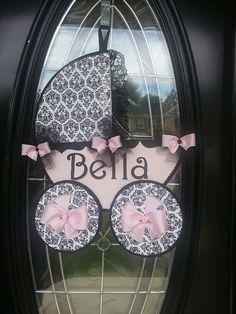 Baby Carriage Door Hanger / Baby girl Door by TheCarriageShoppe