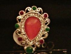 .925 Silver Indian Shield Ring with Orange Teardrop and Gemstone Chips Size @ 7
