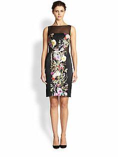 Badgley Mischka Floral Silk Dress