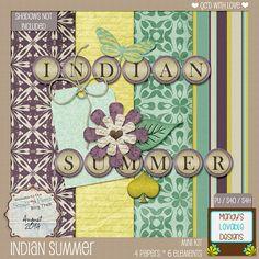 August Scraps-N-Pieces Blog Train | Indian Summer | Purple, Green, Yellow | Dark, Moody Color Palette #Freebie
