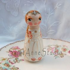 Our Lady of Knock wooden statue doll ***This Our Lady of Knock doll will be made after purchase. Please allow up to three weeks for shipment. If you need it earlier please purchase my Rush listing here: https://www.etsy.com/listing/115368048/rush-order-for-saint-anne-studio This item will resemble the photos essentially but will be different being that it is hand painted. If you wish to have a photo sent before it is shipped just notify me.***  This is a large wood peg doll painted as Our…