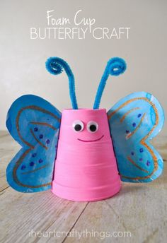 Bright and colorful butterfly crafts are a must for spring time. This foam cup butterfly craft for kids is stunning with it's crayon and watercolor designed wings. Kids will have a blast making Spring Crafts For Kids, Crafts For Kids To Make, Summer Crafts, Projects For Kids, Art For Kids, Kids Crafts, Beach Crafts, Food Crafts, Jar Crafts