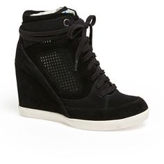 French Connection 'Marla' High Top Wedge Sneaker Womens Sand 40 EU ($65) ❤ liked on Polyvore featuring shoes, sneakers, sapatos, wedges, heels, holographic sneakers, high top wedge sneakers, hi top wedge sneakers, wedge trainers and suede high top sneakers