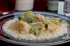 Creamy Chicken and Broccoli Over Rice  - easy Weight Watchers Recipe that is SO GOOD!