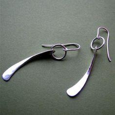 Mobi Earrings: Sterling Silver Modern Style by curlygirlglass