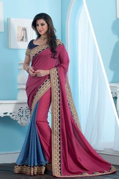 Pink and Blue Crepe Silk Designer Saree For Women