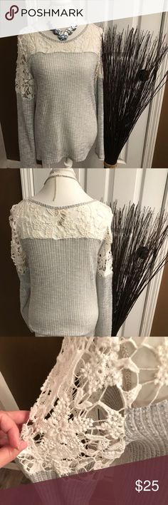 Buckle long sleeved tee Beautiful long sleeved tee by day trip by Buckle. Bottom is light gray thermal and top is open crochet in white. Looks great with jeans and boots. Buckle Tops Tees - Long Sleeve