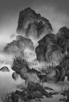 artchipel:    Yang Yongliang - Artificial wonderland 02. Ink-jet print on Epson fine art paper, 145x211cm (2010)
