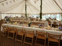 Traditional unlined marquee, trestle table layout