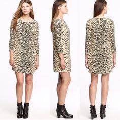J crew leopard silk dress Super chic leopard silk dress by j crew. Has pockets! Great condition! J. Crew Dresses
