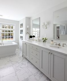 Beautiful master bathroom decor tips. Modern Farmhouse, Rustic Modern, Classic, light and airy master bathroom design a few ideas. Bathroom makeover suggestions and master bathroom remodel some ideas. Grey Bathroom Cabinets, Bathroom Renos, Bathroom Renovations, Grey Bathroom Vanity, Gray Vanity, Grey Bathroom Decor, Remodel Bathroom, Tub Remodel, Bathroom Fixtures