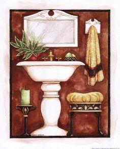 Sienna II ~ Fine-Art Print - Washstand and Sink Art Prints and Posters - Bathroom Pictures Bath Art, Bathroom Art, Vasos Vintage, Framed Artwork, Framed Prints, Art And Hobby, Bathroom Pictures, Matching Paint Colors, Illustrations
