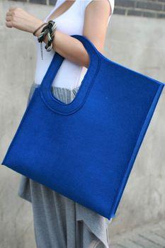 Ambm magnetic buckle belt shopping bag felt bag eco-friendly bag shopping bag multicolor