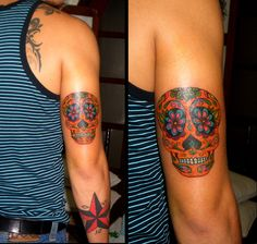sugar skull tattoo sleeve | Arm sugar skull tattoo and a star on the forearm ~ Ink your body