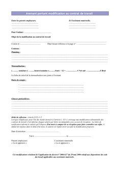 Avenant au contrat de travail 2013 Parents, Document, 2013, Education, Manon, Discipline, Info, Alice, Printable