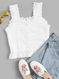 To find out about the Plus Eyelet Embroidered Ruffle Hem Button Front Cami Top at SHEIN, part of our latest Plus Size Women Tops ready to shop online today! Cami Tops, Cami Crop Top, Casual Skirt Outfits, Summer Outfits, Cute Outfits, Fashion News, Fashion Outfits, Fashion Trends, Fashion Styles