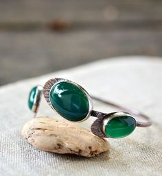 Green Onyx Bracelet Copper and Sterling Silver Mixed Metals Stone Bangle Cuff Artisan Copper Anniversary - by Alery by alery on Etsy