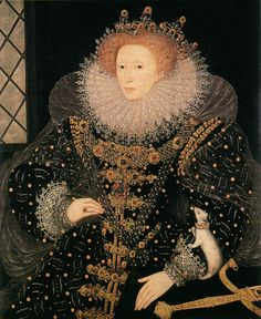 "1585 ""Ermine"" portrait by Nicholas Hilliard (Hatfield House, Hatfield UK)  In this portrait, Elizabeth wears the famous 'Three Brothers' jewel - a gem made of three diamonds set in a triangle around a pointed diamond. It was one of her most treasured jewels. The sword of state rests on the table beside the queen and symbolizes justice; she also holds an olive branch to symbolize peace.""  The Ermine, the symbol of royalty; if you look closely at the animal, you can see the gold crown it…"