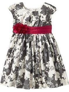 Floral-Foil Print Empire Dresses for Baby