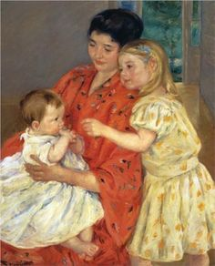 Mother and Sara Admiring the Baby - Mary Cassatt, 1901 one of my favorite artists beautiful paintings of children and women