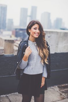 Grey Sweater Black Leather Jacket Outfit