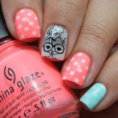 nail polish designs for summer Girls Nail Designs, New Nail Designs, Pretty Nail Designs, Nail Polish Designs, Nails Design, Love Nails, Pretty Nails, My Nails, Nails For Kids