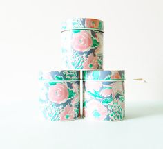 Pastel Floral Storage Tins/Vintage Avon Canisters/Organizing/Metal Floral Containers