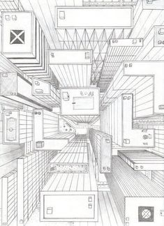 Directly overhead birds eye view perspective drawing one poi Perspective Drawing Lessons, Perspective Art, Perspective Photography, Forced Perspective, City Drawing, Drawing Eyes, 3d Drawings, Architecture Drawings, Birds Eye View