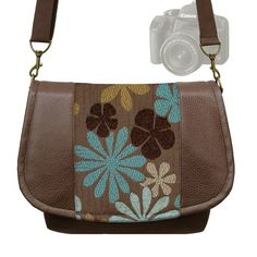 SLR Camera Bag Dslr Camera Bag  Messenger Bag  Vegan Brown Leather Cute Blue Daisy Chenille Tapestry  Zipper Padded Deluxe (RTS)