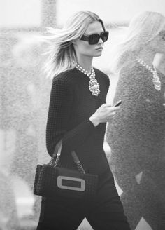 Magdalena Frackowiak- all black with a statement piece - I really want to try this look
