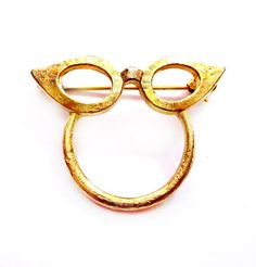 Vintage Eyeglasses Brooch, Gold Cat Eye Glasses Holder Pin, Costume Jewelry