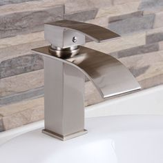Elite 8803BN Brushed Nickel Modern Bathroom Sink Waterfall Faucet - Overstock™ Shopping - Great Deals on Bathroom Faucets
