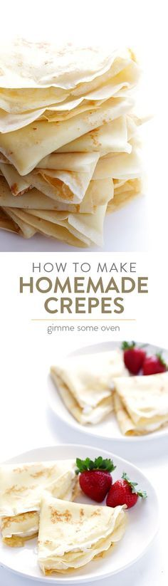 A step-by-step tutorial and easy crepe recipe for how to make delicious homemade crepes. Easy Crepe Recipe, Crepe Recipes, Basic Crepes Recipe, What's For Breakfast, Breakfast Recipes, Dessert Recipes, Easy To Make Breakfast, Mexican Breakfast, Pancake Recipes