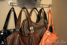 handbags storage ideas...quite simple with IKEA towel racks and their hooks...very affordable...all you need is the wall space to install it.