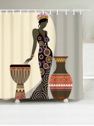 Beauty Geometric Waterproof African Shower Curtain - BROWN W71INCH*L79INCH Mobile