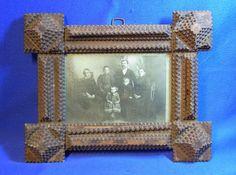 Antique German Tramp Art Picture Frame Family # BN2 #trampart #TrampArt