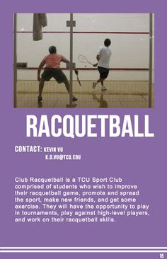 Racquetball Sports Clubs, Make New Friends, Student, Exercise, Baseball Cards, Ejercicio, Exercises, Workouts, College Students