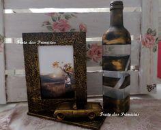 Porta Retrato MDF Estilo Ouro Velho e Garrafa Ouro Velho
