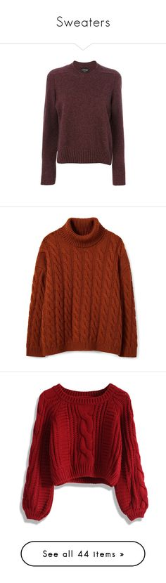 """""""Sweaters"""" by ariadna0205 on Polyvore featuring tops, sweaters, shirts, brown, red shirt, side slit sweater, shirt sweater, red pullover sweater, long sleeve sweater и oversized wool sweater"""
