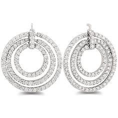 3.20 carat total weight fancy circle earrings with round diamonds prong set in 14k gold.