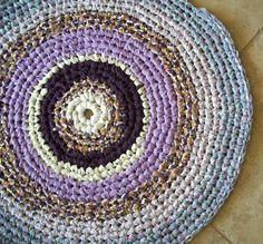 Round Bullseye Crocheted Rag Rug in Lavender  by Bonbonsandmore, $40.00