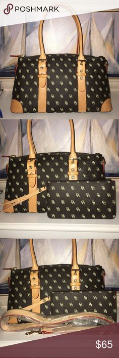 Dooney & Bourke Signature Satchel Purse Excellent condition. Tradition D&B logo print purse. With bonus matching wristlet. Never been used cross body strap included. Dooney & Bourke Bags Satchels