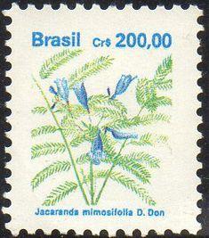 Selos: Brazilian Flora. Jacaranda mimosifolia (Brasil) (Flora) Mi:BR 2420,Sn:BR 2267,Yt:BR 2023,RHM:BR 684