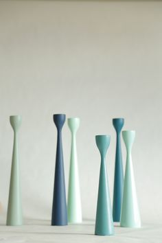 FREEMOVER.se - Scandinavian Mint, Turqoise, Blue Dream - Rolf™ and Ester™ Wooden Candlesticks in New Mid-Century Modern Design by Maria Lovisa Dahlberg. 40 colors, Raw Oak and Certified Teak. Celebrating 10.
