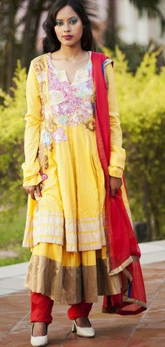 $131.76 Yellow Long Cotton Anarkali Salwar Suit 25049