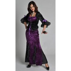costume robe gothique vampire deluxe femme halloween violets and vampires. Black Bedroom Furniture Sets. Home Design Ideas
