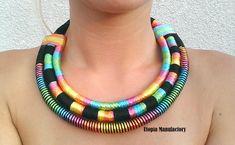 RiRi, African Rope Necklace, Ethnic Statement Necklace, Tribal Rope Jewelry, Statement Necklace, Tribal Bib Necklace